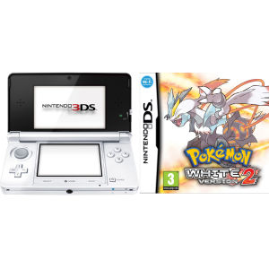 Nintendo 3DS Console (Ice White) Bundle Includes: Pokemon White 2