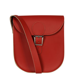Brit-Stitch Leather Milkman Shoulder Bag - Vintage Red