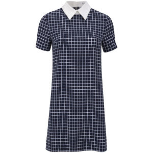 Glamorous Women's Grid Collar Dress - Navy