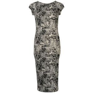 Damned Delux Women's Mixed Animal Midi Dress - Black/White