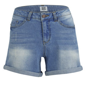 Vero Moda Women's Brix Turn Up Denim Shorts - Light Wash