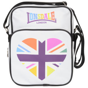 Lonsdale Zip Front Heart Messenger Bag - White