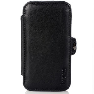 Knomo Black Leather iPhone 4 Folio Case