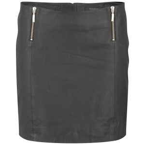 Gestuz Women's Parcy Zip Leather Mini Skirt - Black