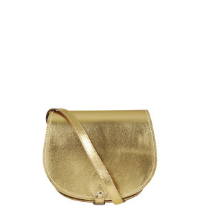 Zatchels Small Metallic Leather Saddle Bag - Gold