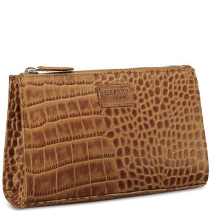 OSPREY LONDON The Large Belle Polished Croc Leather Make Up Bag - Tan