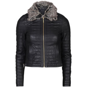 Brave Soul Women's PU Quilted Jacket Fur Trimmed Collar - Black