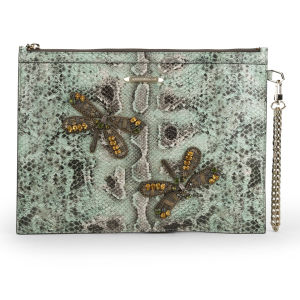 Matthew Williamson Women's Nomad Dragonfly Pouch Leather Clutch Bag - Mint Snake
