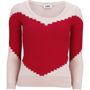 Sonia by Sonia Rykiel Women's Heart Knit Jumper - Red/Beige