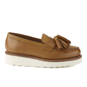 Grenson Women's Clara V Leather Platform Tassel Loafers - Tan