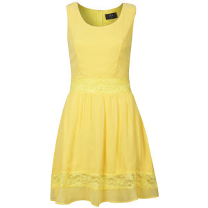 AX Paris Women's Lace Insert Skater Dress - Yellow