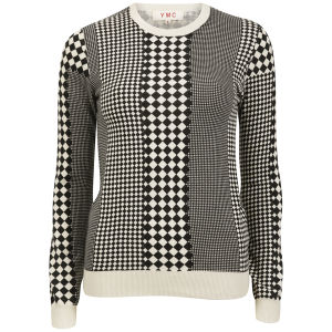 YMC Women's Checkerboard Knitted Jumper - Black