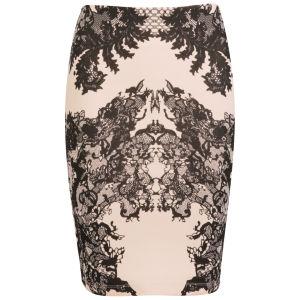 McQ Alexander McQueen Women's Lace Print Contour Skirt - Flesh