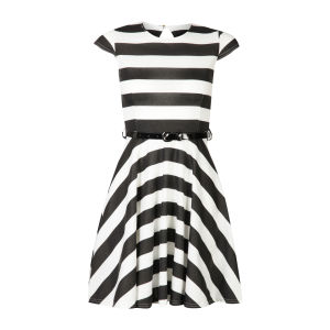 Club L Women's Cap Sleeve Striped Belted Skater Dress - Black/White