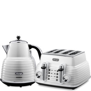 De'Longhi Scultura 4 Slice Toaster and Kettle Bundle - White Gloss