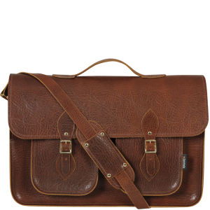 Zatchels 17.5 Inch Executive Leather Satchel - Brown