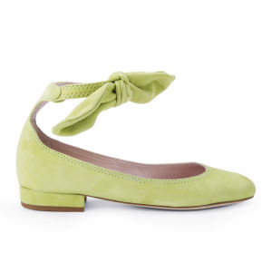 Carven Women's Bow Strap Block Heeled Velvet Flats - Light Green