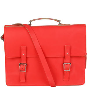 Brit-Stitch Leather Laptop Bag - Poppy Red