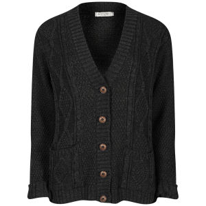 Moku Women's Long Sleeve Cable Knit Cardigan - Volcanic Black