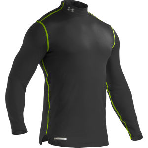 Under Armour Men's Evo Coldgear Fitted Mock Compression Long Sleeve Top - Black/Hyper Green