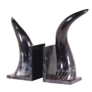 Bark & Blossom Pair of Horn Bookends