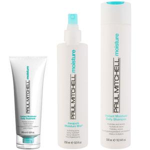 Paul Mitchell Instant Moisture Trio- Shampoo, Daily Treatment & Awapuhi Moisture Mist