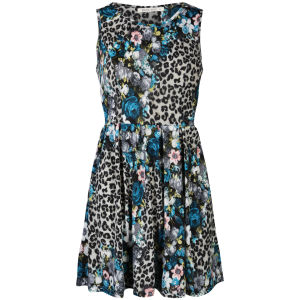 Brave Soul Women's Leopard and Floral Skater Dress - Blue
