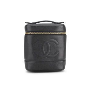 Chanel Vintage Black Caviar Leather Vanity Case Bag - Black