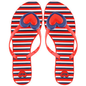 Mel Women's Honey Heart Flip Flops - Red
