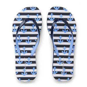 Dunlop Women's Nautical Flip Flops - Blue