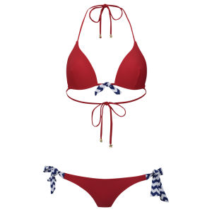 South Beach Women's Darby Moulded Triangle Bikini - Red