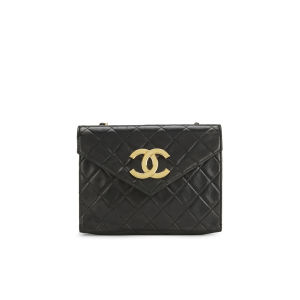 Chanel Women's Quilted Lambskin Leather Shoulder Pochette Bag - Large CC Logo - Black