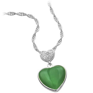 Silver Plated Jade Green Heart Pendant