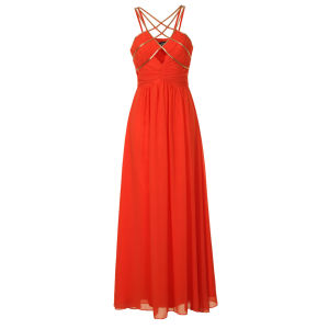 Little Mistress Women's Embellished Strappy Maxi Prom Dress - Orange