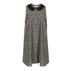 Bolzoni & Walsh Women's DR10 Embroidered Scallop Collar Swing Dress - Grey