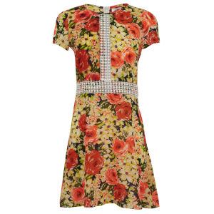 Madam Rage Women's Crochet Waist Floral Dress - Multi