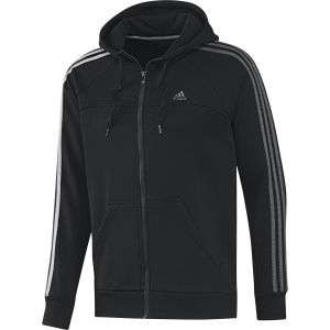adidas Men's Essential 3 Stripe Full Zip Hoody - Black/Dark Grey