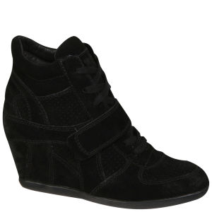 Ash Women's Bowie Suede Wedges Hi-Top Trainers - Black