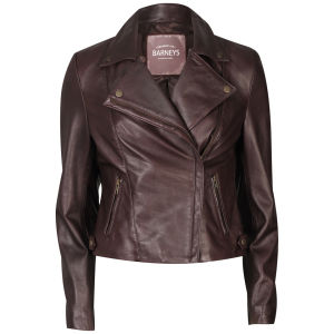 Barneys Women's Real Leather Biker Jacket - Merlot