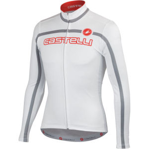 Castelli Velocissimo Team Long Sleeve Jersey - White/Grey/Red