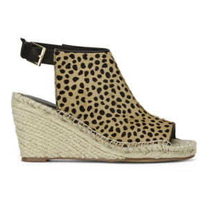 KG Kurt Geiger Women's Nelly Pony/Espadrille Leopard Print Wedged Sandals - Tan