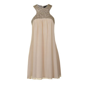 Little Mistress Women's Neck Embellished Swing Prom Dress - Cream