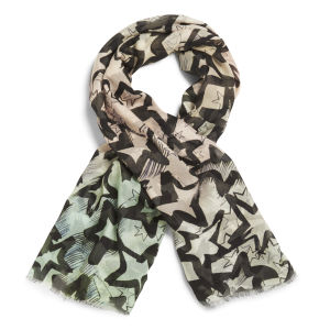 Lisa King Starstruck Rolled Hem Scarf - Pink/Green
