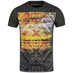 Conspiracy Men's Aztec Printed T-Shirt - Beluga Grey