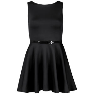 Influence Women's Belted Scuba Skater Dress - Black