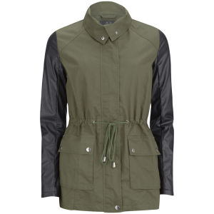 AX Paris Women's PU Sleeve Jacket - Khaki