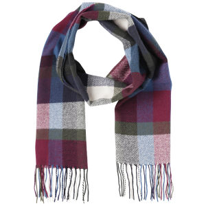 Barbour Unisex Ruthven Plaid Check Scarf - Teal