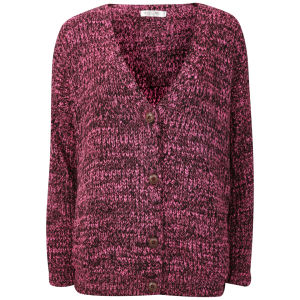 Moku Women's Chunky Mix Knit Cardigan - Pink/Black