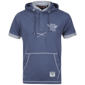 Brave Soul Men's Kobane Hooded T-Shirt - Denim Blue