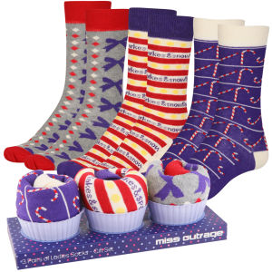 Miss Outrage Womens 3-Pack Socks Cupcake Giftset